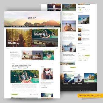 旅行および旅行代理店のブログテンプレートプレミアムpsd