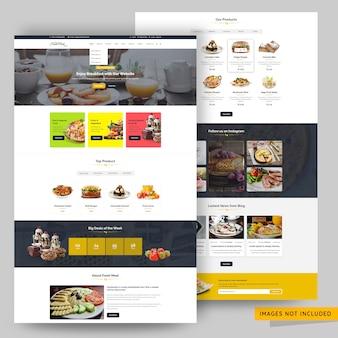 レストランと料理のウェブサイトプレミアムpsdテンプレート