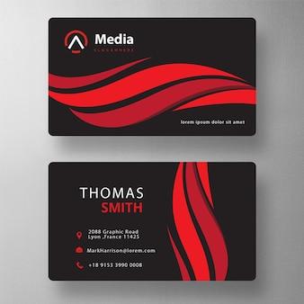 赤い波状のプロのpsd訪問カード