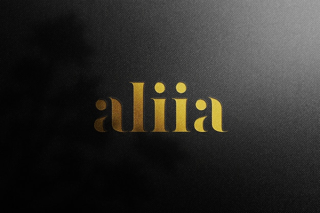 Роскошный логотип макет на черной крафт-бумаги премиум psd