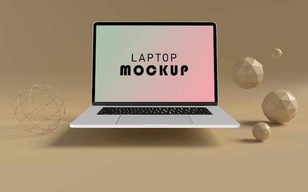 現実的なラップトップ正面モックアップ無料psdファイル