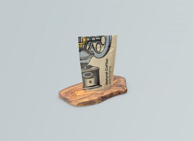 Макет кофейных мешков на оливковом столе psd