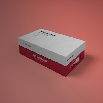 Макет коробки для обуви с редактируемым дизайном psd