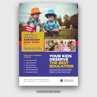 Шаблон флаера для школьного образования детей премиум psd