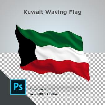 クウェート国旗波透明psd
