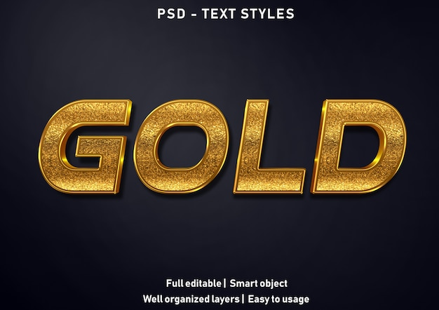 ゴールドテキスト効果スタイル編集可能なpsd