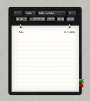 古典的なメモ帳テンプレートはテキストオプションでpsdファイル