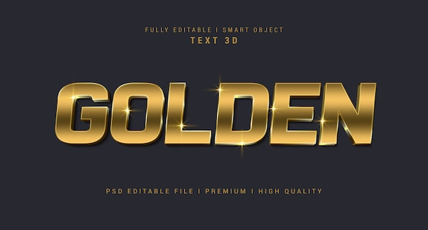 黄金のテキスト効果のpsdテンプレート