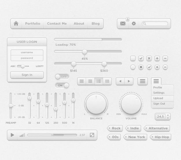 Убогий psd интерфейса комплект пользовательского интерфейса набора