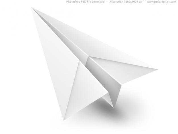 Белый бумажный самолетик psd значок