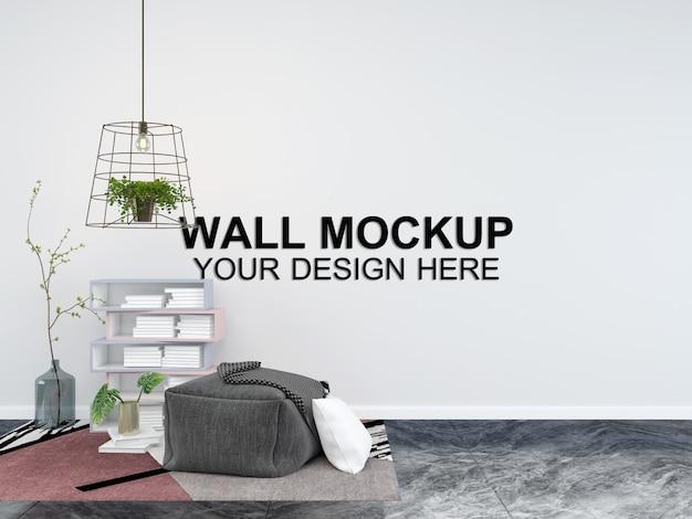 Гостиная интерьер дома макет пол мебель фон, минималистский дизайн копирование пространства шаблон psd