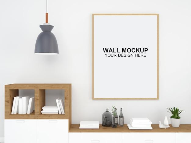 リビングルームインテリア家モックアップ床家具背景、ミニマルなデザインコピースペーステンプレートpsd