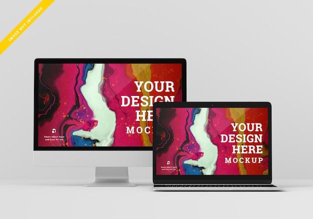 デジタルデバイスのモックアップ画面の設計。テンプレートpsd。