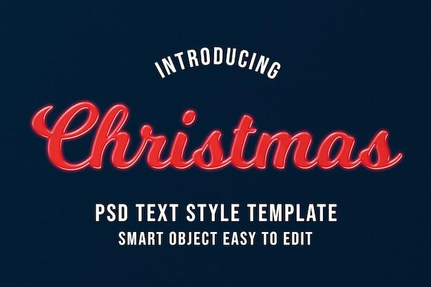 Рождественские текстовые шаблоны эффектов psd