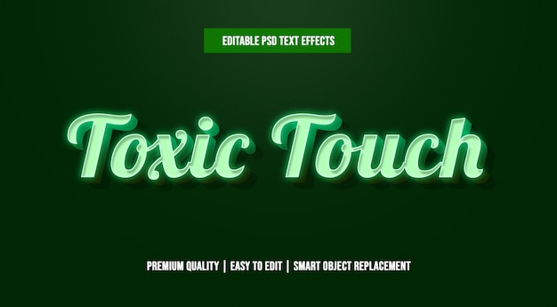 有毒なタッチ編集可能なテキスト効果テンプレートpsd