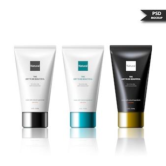 広告のためのモックアップデザイン化粧品チューブ製品テンプレート。コーポレート・アイデンティティの化粧品包装psdセット