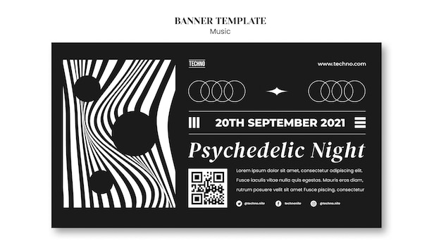 Psychedelic party banner template