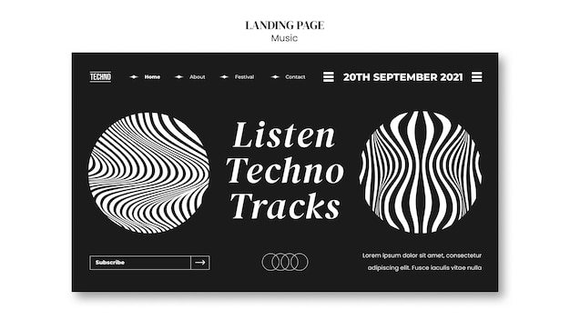 Psychedelic party landing page template