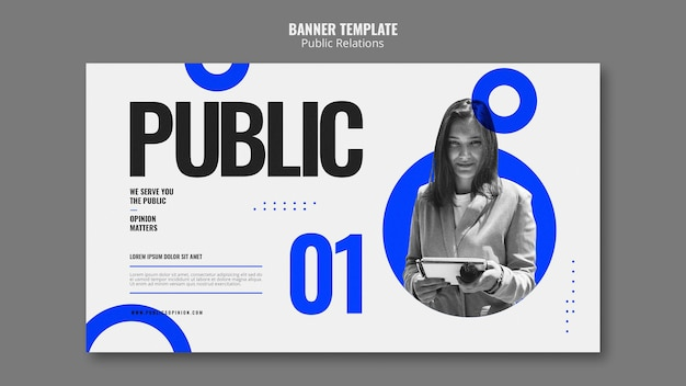 Modello di banner di pubbliche relazioni
