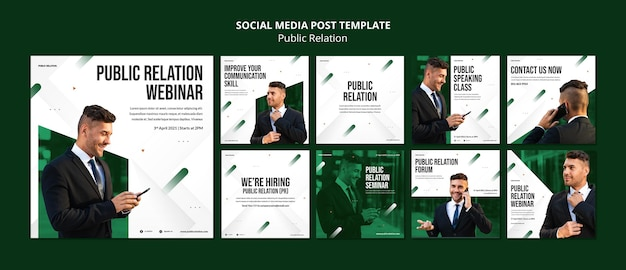 Public relations instagram posts template