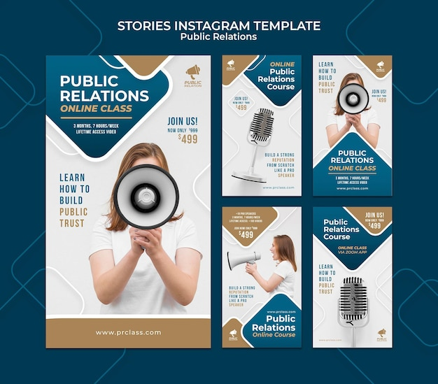 Public relations instagram stories set Free Psd