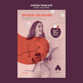 Modello di poster di pubbliche relazioni con foto