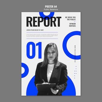 Modello di poster di pubbliche relazioni