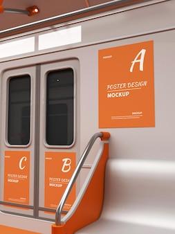 Public transport door poster mockup design in 3d rendering