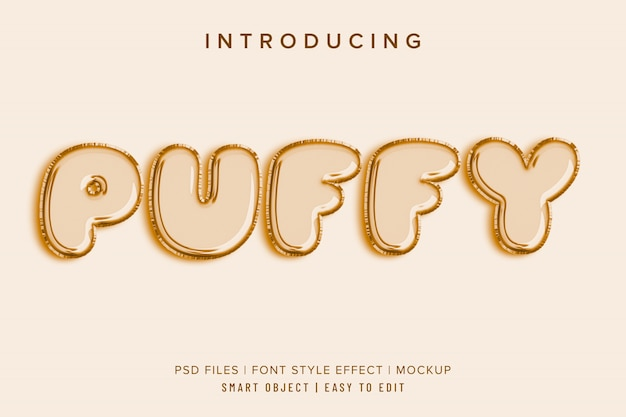 Puffy baloon 3d font style effect mockup