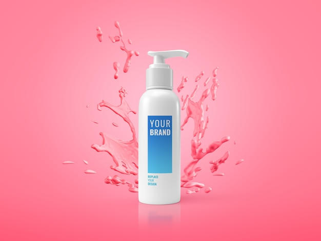 Pump bottle cream splash advertising mockup