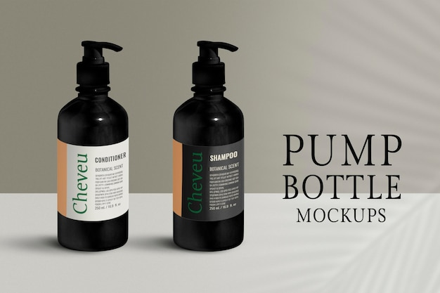ポンプボトルモックアップ、ブランクpsd製品パッケージデザイン
