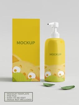Pump hand soap packaging mockup