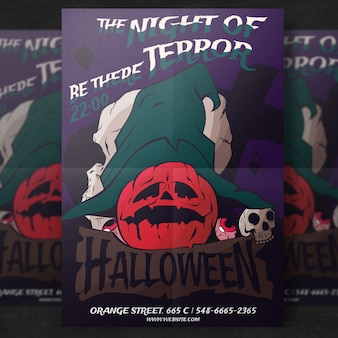 Pumpkin halloween party flyer template