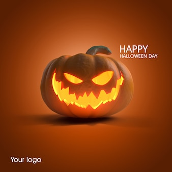 Pumpkin halloween poster mockup