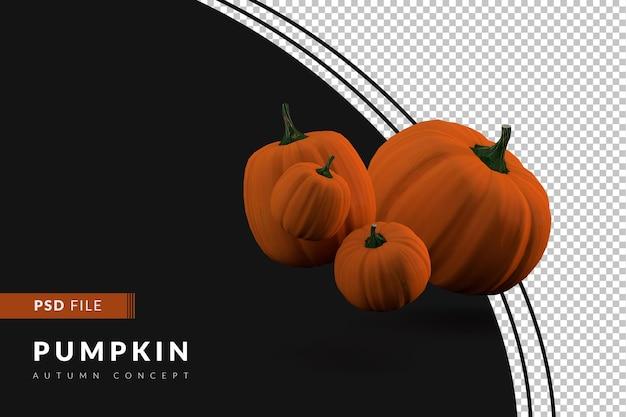 Pumpkins floating on black background 3d render