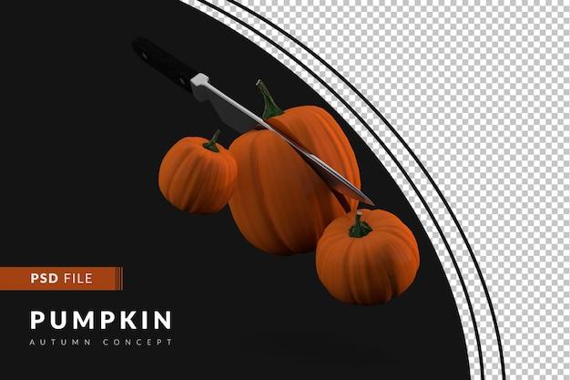 Плавающие тыквы с ножом, разрезающим тыкву пополам 3d визуализации