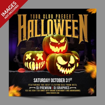 Промо-акция pumpkins halloween night party для поста в социальных сетях премиум-шаблона