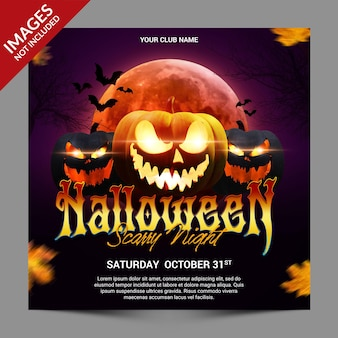 Pumpkins halloween night party promotion for social media post premium template