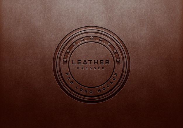 Punched leather logo mockup