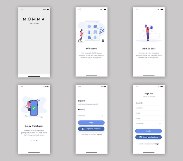 Purchasing app mobile app ui kit
