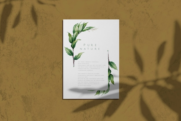 Pure nature with leaves poster mockup