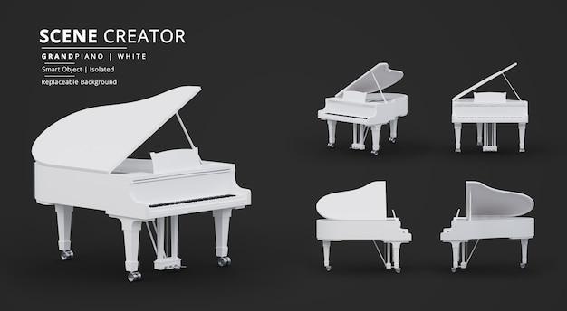 Pure white grand piano scene creator