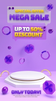 割引セール商品の広告とブランドアイデンティティのための紫色の3d編集可能な表彰台