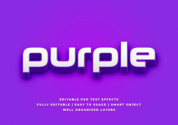 Purple 3d text style effect