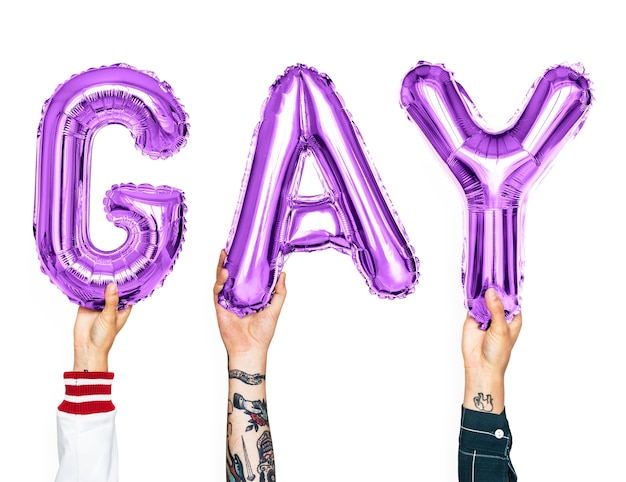 Purple alphabet balloons forming the word gay