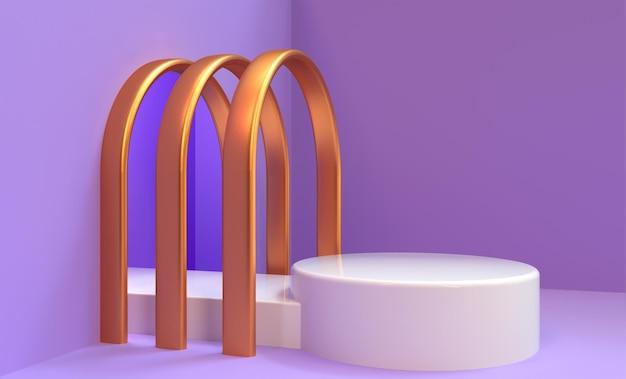 제품 배치 3d 렌더링을위한 연단과 보라색과 장미 골드 배경