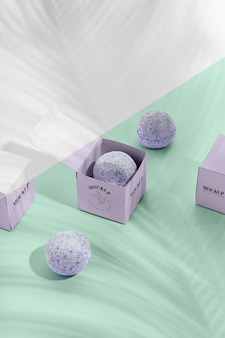 Purple boxes and bath bombs mock-up