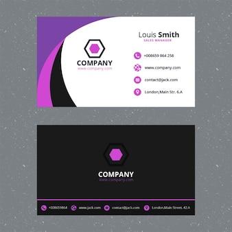 Фиолетовый шаблон корпоративная визитная карточка