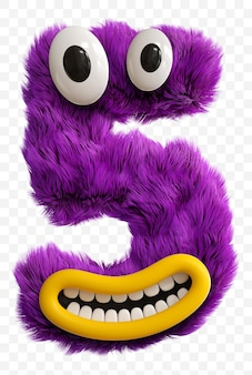 Purple cartoon character monster face capital letter. 3d render alphabet isolated.