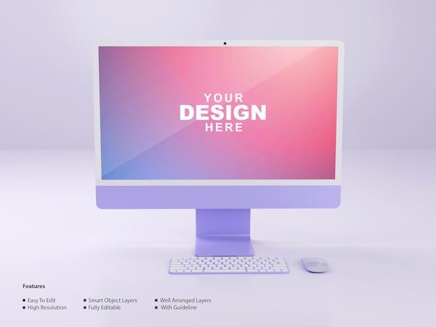 Мокап экрана рабочего стола фиолетового цвета